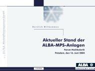 Aktueller Stand der ALBA-MPS-Anlagen Forum Hochkalorik ... - MUGV