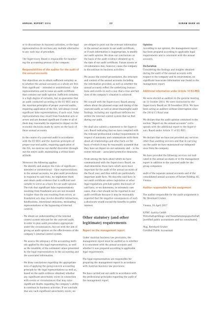 Annual Report of Euram Bank Vienna 2016