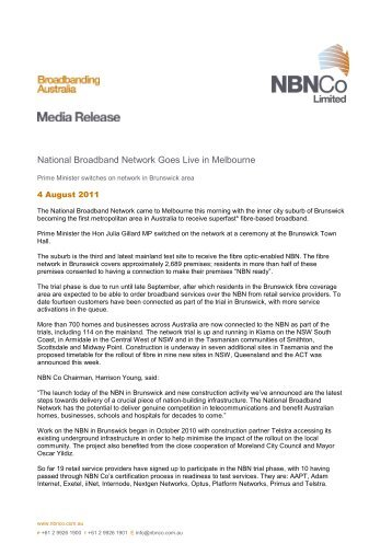 National Broadband Network Goes Live in Melbourne - NBN Co