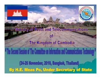 Ministry of Posts & Telecommunications of Cambodia (MPTC) - escap