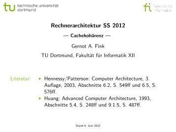 Rechnerarchitektur SS 2012 - Cachekohärenz - TU Dortmund