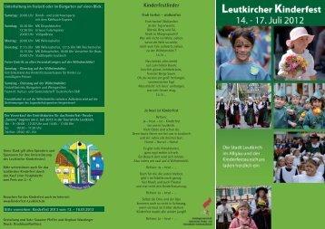 Herzlich willkommen zum Leutkircher Kinderfest 2012