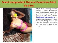 Select Independent Chennai Escorts for Adult Services