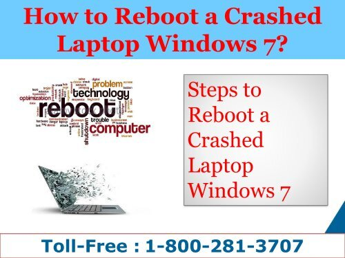 How to Reboot a Crashed Laptop Windows 7| 1-800-281-3707