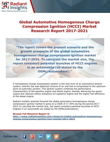 Global Automotive Homogenous Charge Compression Ignition (HCCI) Market Research Report 2017-2021