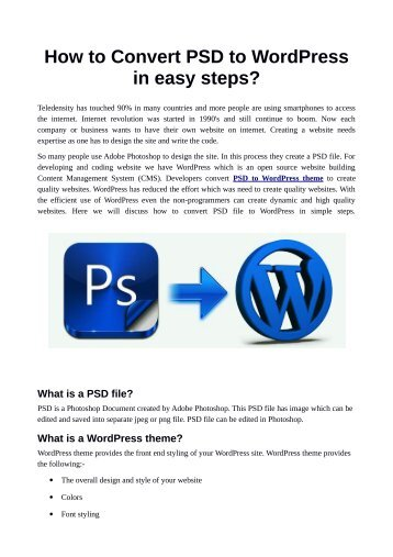 How to Convert PSD to WordPress in easy steps