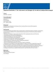 Akademie Kreditrisiko 3. Teil: Instrumente und Strategien für ein ...
