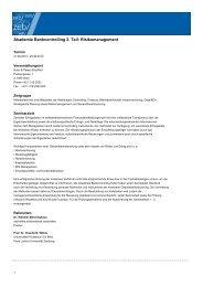 Akademie Bankcontrolling 2. Teil: Risikomanagement