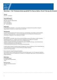 Workshop 1. Teil: Professionalisierung zeb/NLP for finance Zyklus I ...