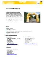Anschriften der mobilen Fahrradturnier - ADAC Ortsclub-Portal