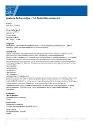 Akademie Bankcontrolling 1. Teil: Rentabilitätsmanagement
