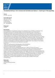 Vorstand als Vertriebscoach Zyklus I - Coaching im Führungsalltag