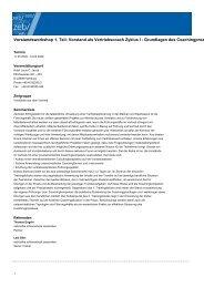 Vorstand als Vertriebscoach Zyklus I - Grundlagen des ...
