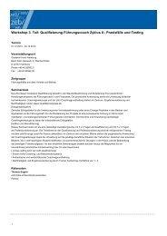 Qualifizierung Führungscoach Zyklus II - Praxisfälle und Testing