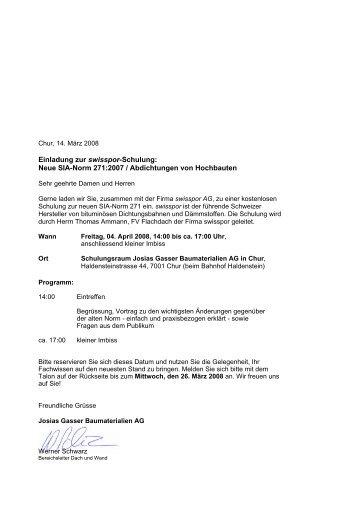 Anmeldetalon zur swisspor-Schulung - Gasser Baumaterialien AG