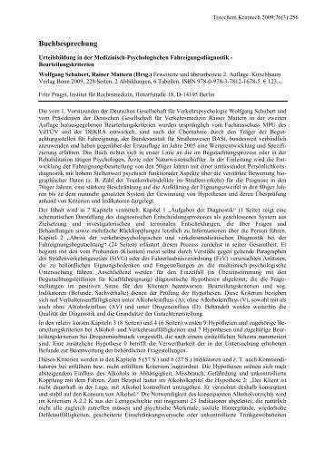 Buchbesprechung zu: Urteilsbildung in der Medizinisch ... - GTFCh