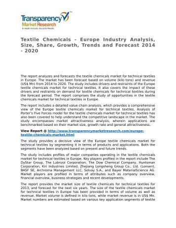 Textile Chemicals - Europe Industry Analysis, Size, Share, Growth, Trends and Forecast 2014 - 2020