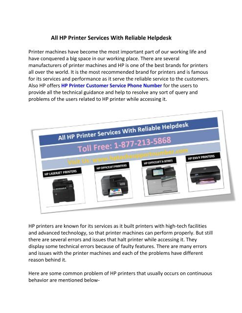 All HP Printer Services With Reliable Helpdesk