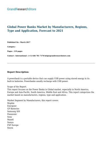 Global Power Banks Industry Situation and Prospects Research report 2017