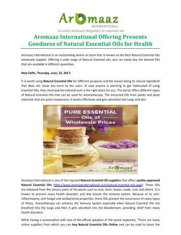 Aromaaz International Offering Presents Goodness of Natural Essential Oils for Health