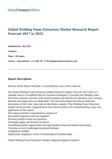 Global Welding Fume Extractors Market Research Report Forecast 2017 to 2022