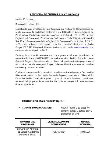 CONTENIDO DE LA RENDICION DE CUENTAS A LA CIUDADANIA 2016