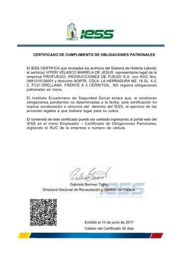 Certificado IESS