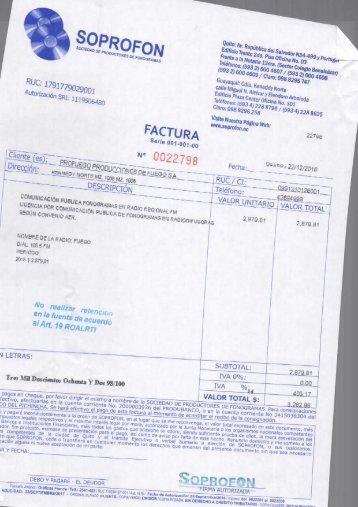 factura SOPROFON Y PAGO