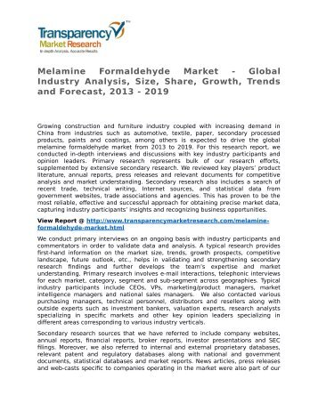 Melamine Formaldehyde Market - Global Industry Analysis, Size, Share, Growth, Trends and Forecast, 2013 - 2019