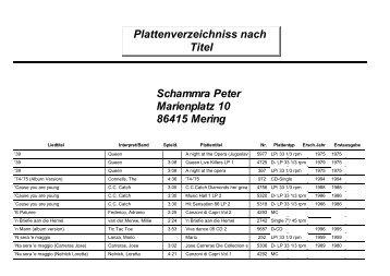 Plattenverzeichniss nach Titel Schammra Peter Marienplatz 10 ...