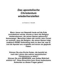 Das apostolische Christentum wiederherstellen - Welt von Morgen