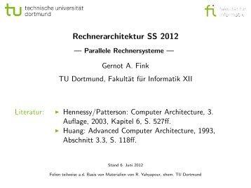 Rechnerarchitektur SS 2012 - Parallele Rechnersysteme