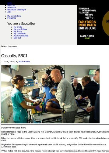 Casualty, BBC1 | In-depth | Broadcast