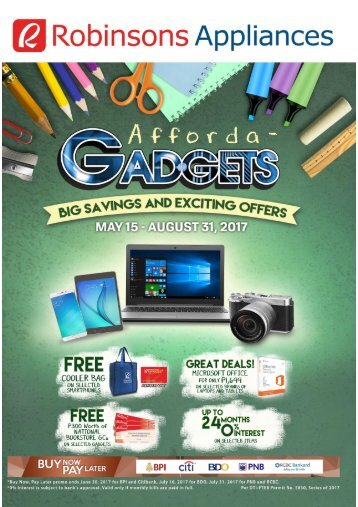 ROBINSON APPLIANES GADGETS CATALOG ends August 31, 2017
