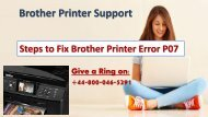 How to Fix Brother Printer Error P07|+44-800-046-5291
