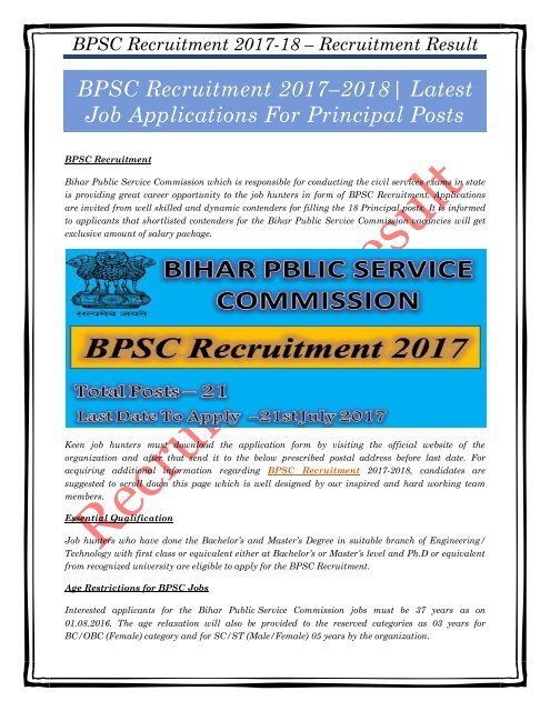 BPSC Recruitment 2017–2018 Latest Job Applications For