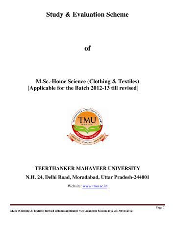 (Clothing & Textiles) [Applicable for the Batch 2012-13 ... - Tmu.ac.in