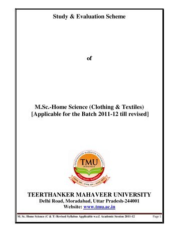 Home Science (Clothing & Textiles) - Tmu.ac.in