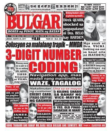June 25, 2017 BULGAR: BOSES NG PINOY, MATA NG BAYAN