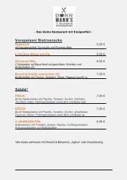 Speise- & Getränkekarte Borrmann's TC Weckhoven