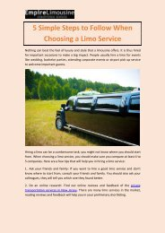 5 Simple Steps to Follow When Choosing a Limo Service