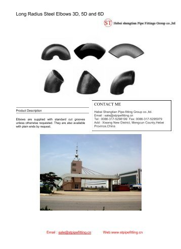 Long Radius Steel Elbows 3D, 5D and 6D