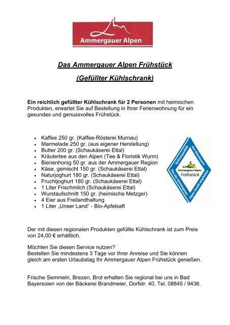 Ammergauer Alpen Fruehstueck