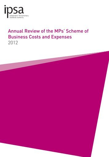 Annual review of the MPs' scheme of business costs and expenses ...