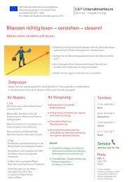 S&P - Seminare - Inhouse Training - Bilanzen richtig lesen - verstehen - steuern! Schweiz