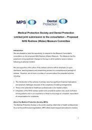 Medical Protection Society and Dental Protection Limited joint ...