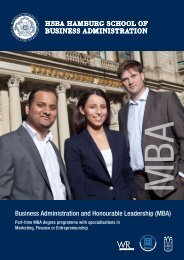 Business Administration and Honourable Leadership (MBA) - HSBA