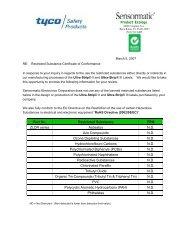 RoHS Certificate of Conformance - Sensormatic
