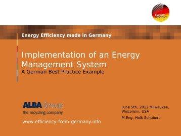 Holk Schubert, Project Head - Energy Management, ALBA 2