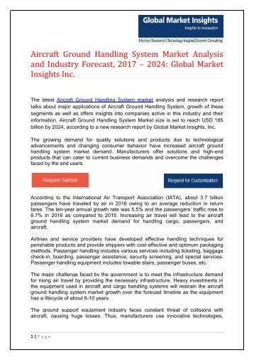 Global Aircraft Ground Handling System Market Share, Trends, Report, Forecast, 2017 – 2024